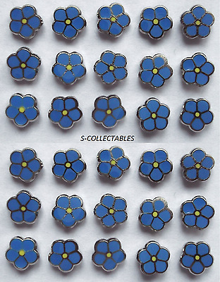 ( 30x ) ✿ MASONIC 'FORGET ME NOT' PIN BADGE ✿ CHROME/ENAMEL FLOWER, LAPEL, GIFT