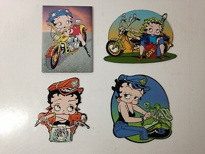 Lot of 4 BETTY BOOP Biker Magnets - 2000 King Features Syndicate, Inc
