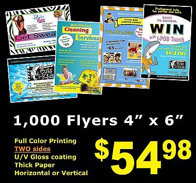 """1000 POSTCARDS 4"""" x 6"""" Flyers Full Color UV Gloss Custom Personalized Free Ship"""
