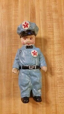 """D.H. Lee 1949 Texaco Gas Attendant Man Vintage Cast Iron 7.5"""" Tall Coin Bank"""