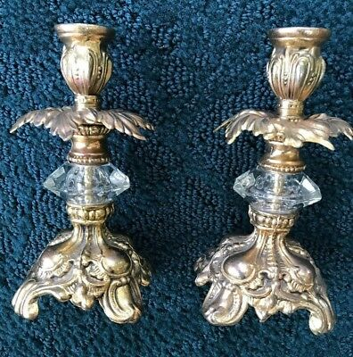 "Vintage 7.5""  Pair of Brass & Crystal Candle Holders"