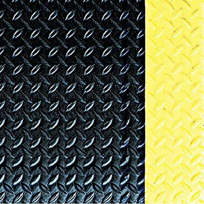 """Crown #550 3' x 12' x 7/8"""" Blk/Ylw Workers-Delight™ Deck Plate Anti-Fatigue Mat"""