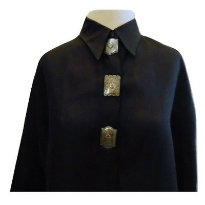 Streets Ahead linen top with real sterling silver conchos black long sleeve Sz S