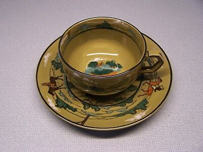 Very Nice BUFFALO POTTERY Deldare Ware Underglaze CUP & SAUCER Fallowfield Hunt