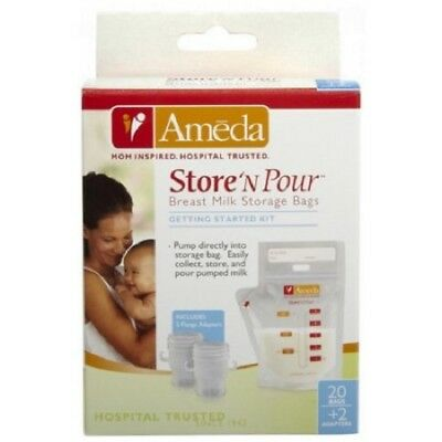 Ameda Store'N Pour Milk Storage Bags, 20 Ct + 2 Adaptors (4 Pack)
