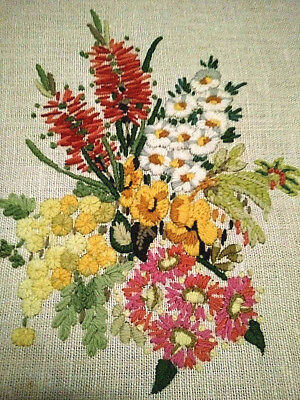 Glorious Native Australian Wild-Flowers~ Crewel Hand Embroidered Framed Picture