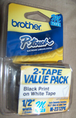 """New Sealegenuine Brother 2 Pack P-Touch Label Tape 1/2"""" M-2312Pk Black On White"""
