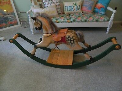 Full size hand carved wooden rocking horse