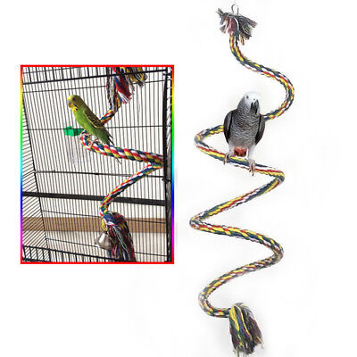 Bird Perch Toy Parrot Cotton Rope Chewing Bar Cage Stand Spiral W Bell Hi-Q 1M