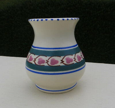 Vintage Honiton Pottery Manaton Vase Hand Painted Green, Blue, Brown  & Pink