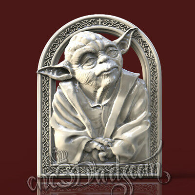 3D Model STL for CNC Router Artcam Aspire Yoda Jedi Panel Starwars Cut3D Vcarve