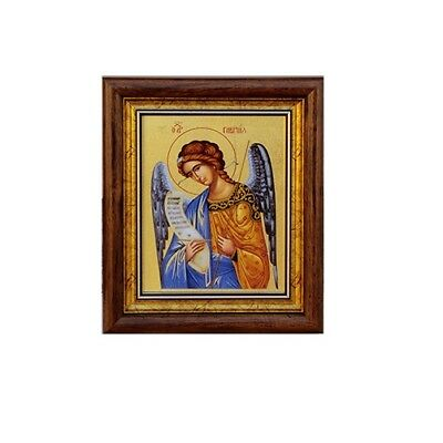 Saint Gabriel Greek Orthodox Silkscreen with Golden Leaf Icon with Frame