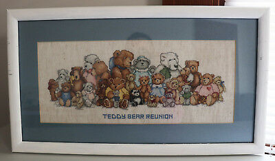 "VTG Framed Hand Embroidered Cross Stitch Teddy Bear Reunion 22.5"" x12.25"""