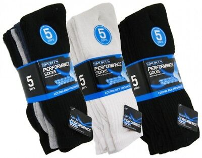 5 Pair Mens Plain Classic Sports Socks Cotton Rich Thick Black White Assort 6-11