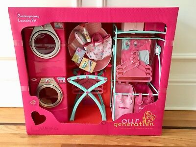 New Our Generation Laundry Set Washer Dryer 18 American Doll