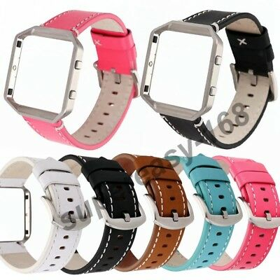 Replacement Fashion Leather Strap Wrist Band+ Frame For Fitbit Blaze Smart Watch