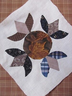 "HUMMINGBIRD QUILT BLOCK 12.5"" sq HAND-Appliq  FEEDSACK c1935-45's Depression Era"