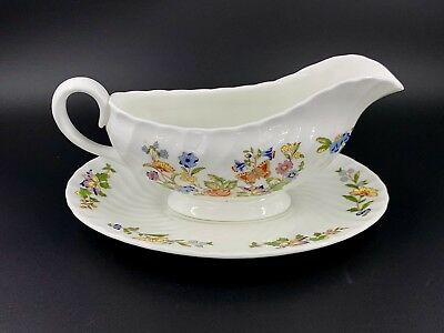 Aynsley Cottage Garden Gravy Boat with Underplate Bone China England
