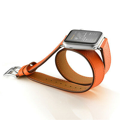 Genuine Leather For Apple Watch iWatch 38mm/42mm Double Tour Herme Strap