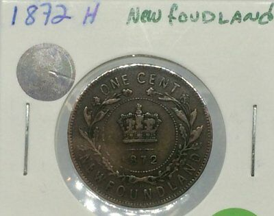 1872 H Newfoundland Large cent
