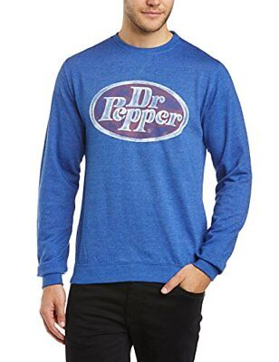 Blue X-Large Dr. Pepper Felpa con scollo tondo, Uomo,  (Heather Royal), XL