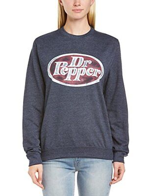 Blu Small Dr. Pepper Felpa con scollo tondo, Donna,  (Heather Navy), S