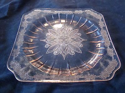 Gorgeous PINK DEPRESSION GLASS Square Dish. A Must See!