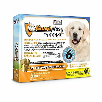VetGuard Plus Flea & Tick Treatment for Large Dogs, 34-66 lbs, 6 Month Supply