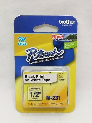 M231 1/2Inch Black on White Tape for PTouch Labeler Free S/H