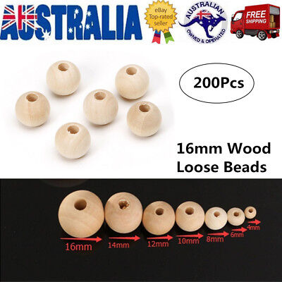 200 x 16mm Round Wood Spacer Bead Natural Unfinished Unpainted Wooden Beads Ball