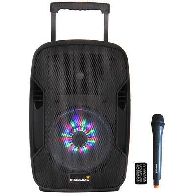 "STARAUDIO 10"" Portable 1500W Active PA Battery BT USB Audio Speaker W/ Light Mic"