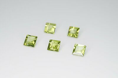 5mm Square Cut Natural Peridot Calibrated A+ Loose Faceted Gemstone