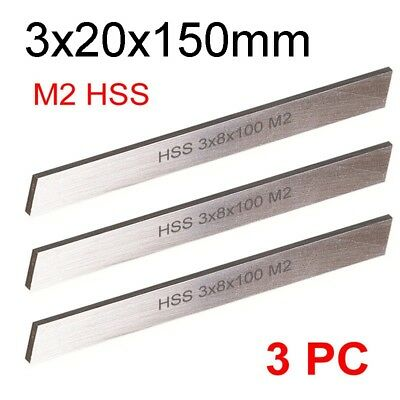 3 PC HSS Parting Off Blade 3x20x150mm M2 High Speed Steel Fully Gound Tool Bits