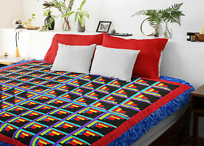 Multi Colored Log Cabin QUILT TOP Sparkling Diamond Pattern