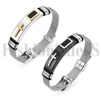 Stainless Steel Cuff Bangle Mesh Band Charm Cross Bracelet Men's Women's Jewelry