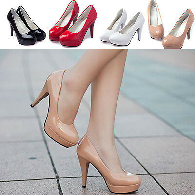 Womens Sexy Round Toe Stiletto High Heel Thin Platform Pumps Party Shoes Wedding