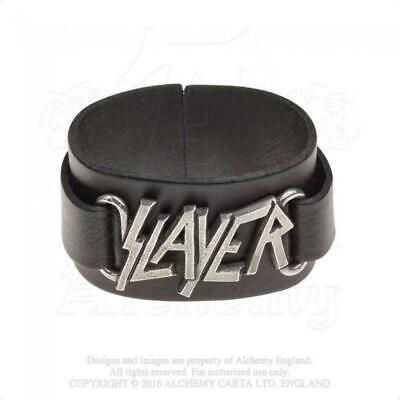 Slayer - Leather and Pewter Premium Wriststrap (262mm x 38mm)