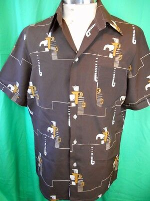 Vintage 1970s Brown Peter Shearer Short Sleeve Polyester Disco Party Shirt OS