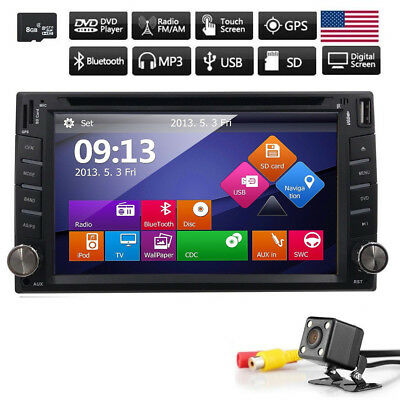 "6.2"" Car Stereo Double 2Din Sony Lens Radio DVD Player iPod Bluetooth MP3 US+Cam"
