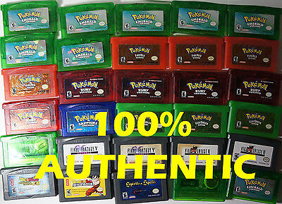Original Authentic Pokemon Emerald Ruby Sapphire Fire Red Leaf Green GBA