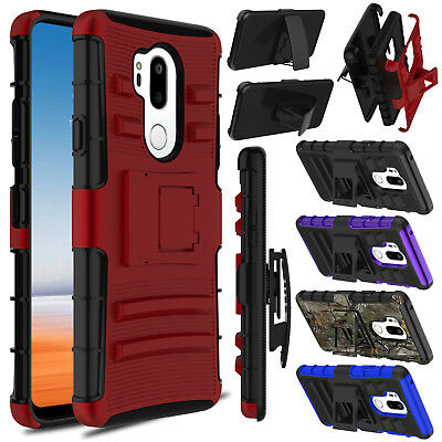 Hybrid Shockproof Armor Hard Stand Clip Rugged Rubber Case Cover For LG G7 ThinQ