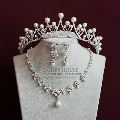2018 New Stunning Bling Pear Crown Tiara Necklace Sets Pageant Wedding Bridal