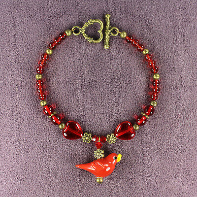 3D RED BIRD BRACELET Cardinal Totem Attraction Passion Hearts Flowers Glass Bead