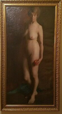 Large Antique French Oil Painting on Canvas Nude Museum Quality Signed