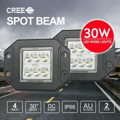 PAIR 30W 4 inch CREE Flush Mount LED Work Lights SPOT 12V 24V Reverse Truck 5""