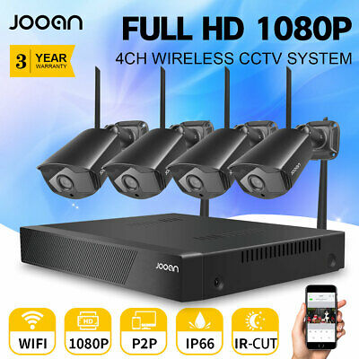 JOOAN 4CH Wireless 1080P NVR Outdoor Home WIFI Camera CCTV Security System Video