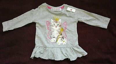 New 6-12 Months Baby Girl Cute Cat Princess Jumper Sweater Long Sleeve Grey Top