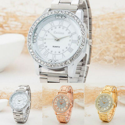 Luxury Women Watch Bling Crystal Dial Quartz Leather Bracelet Wrist UK Seller