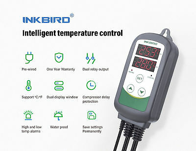 Inkbird ITC308 Temperature Controller Thermostat Switch 110-240V 2 Relay Output
