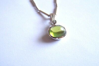 Anhänger Silber 925   Peridot  Cabochon oval   incl. Kette